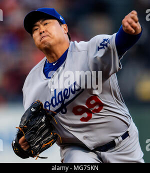 San Francisco, California, USA. 27th Apr, 2018. during a MLB game between the Los Angeles Dodgers and the San Francisco Giants at AT&T Park in San Francisco, California. Valerie Shoaps/CSM/Alamy Live News - Stock Photo