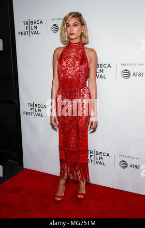 New York,  USA. 27th Apr, 2018. Hailey Baldwin at arrivals for THE AMERICAN MEME Premiere at the Tribeca Film Festival 2018, Tribeca Festival Hub, New York, NY April 27, 2018. Credit: Jason Mendez/Everett Collection/Alamy Live News - Stock Photo