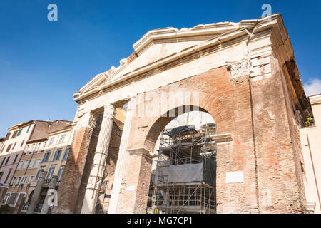 Rome, Italy, february 2017: Frontal view of Portico d'Ottavia. Ancient structure. The colonnaded walks of the portico enclosed the temples of Jupiter  - Stock Photo