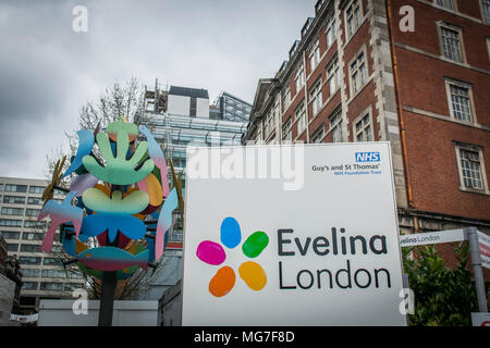 Exterior of Evelina Pediactirc hospital, part of Guys & St Thomasl, a large NHS teaching hospital by Westminster, Bridge in central London - Stock Photo