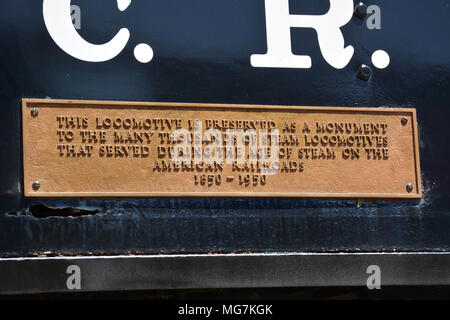 Plaque on the boiler of a steam locomotive located at Steamtown National Historic Site located on 62.48 acres in downtownScranton, Pennsylvania - Stock Photo