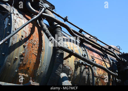 Detail of unrestored locomotive located at Steamtown National Historic Site located on 62.48 acres in downtown Scranton, Pennsylvania - Stock Photo