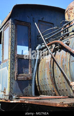 Detail on unrestored locomotive located at Steamtown National Historic Site located on 62.48 acres in downtownScranton, Pennsylvania - Stock Photo