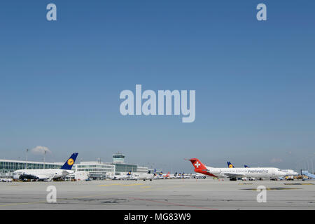 Overview, View, Panorama, Satellit, Terminal 2, Line Up, different Airlines, Aircraft, Airplane, Plane, Airport Munich, MUC, Germany, - Stock Photo