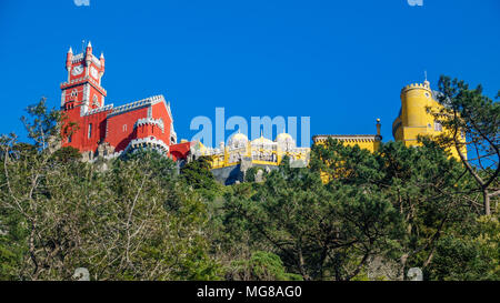 Palace da Pena over hill worms eye view. Sintra, Lisbon. Portugal - Stock Photo