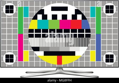 Test screen on modern LCD television. Vector illustration. - Stock Photo