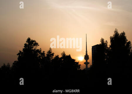 Sunset with the Liberation Tower in the background, Kuwait - Stock Photo