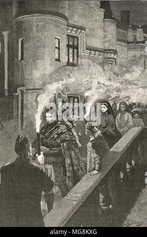 Queen Victoria keeping the Halloween tradition at Balmoral castle, Scotland - Stock Photo