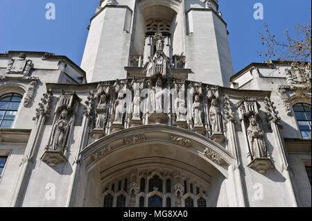 Stone carvings on the exterior wall of the Supreme Court Building, London, England, United Kingdom - Stock Photo