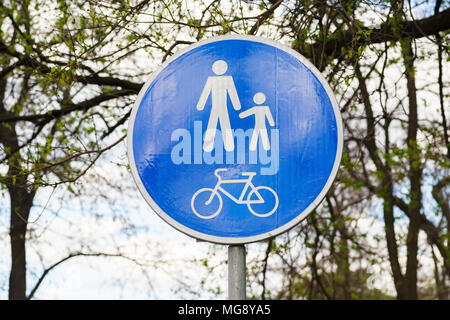road sign for cyclists and pedestrian zone - Stock Photo
