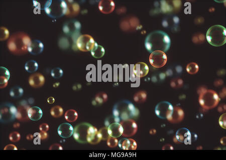 Bubbles against black background, illustration. - Stock Photo