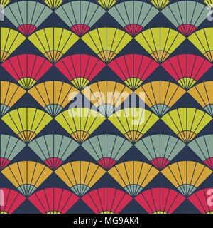 Bright fan background. Based on Traditional Japanese Embroidery. Abstract Seamless pattern. Based on Sashiko stitching - uchiwa. - Stock Photo