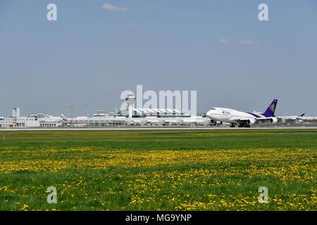 Thai Airways, Boeing, B 747, B747, Take of, Start, tower, Aircraft, Airplane, Plane, Airport Munich, MUC, Germany, - Stock Photo
