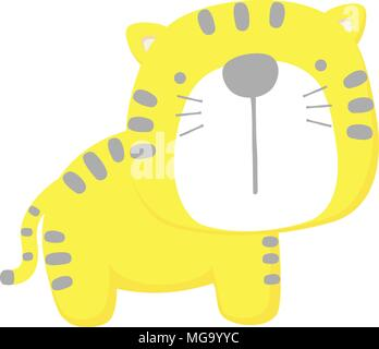 cute baby tiger isolated on white background. flat design for baby and children - Stock Photo