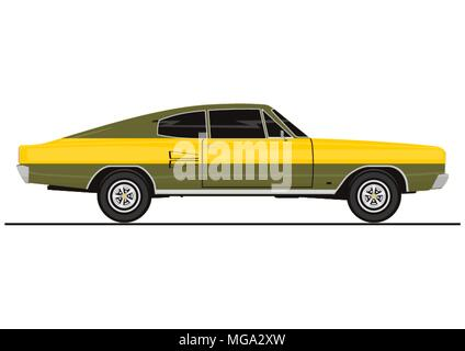 Sticker Of Vintage Coupe Car Side View Flat Vector Stock Vector
