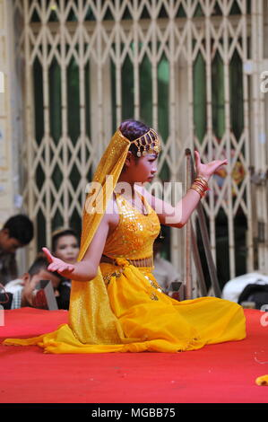 Cambodia celebrates Khmer New Year with Indian influenced traditional dancing, Steung Mean Chey, Phnom Penh, Cambodia, Credit: Kraig Lieb - Stock Photo