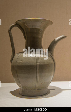 Celadon glazing ewer of Yue ware in Zhejiang Museum in Hangzhou, China. Northern Song Dynasty (AD960-1127) - Stock Photo