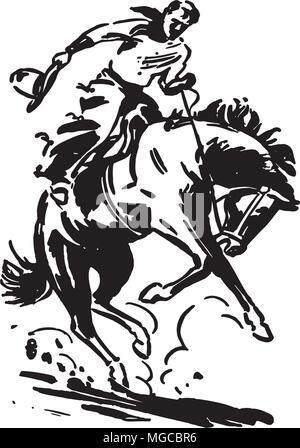 Rodeo Rider 2 - Retro Clipart Illustration
