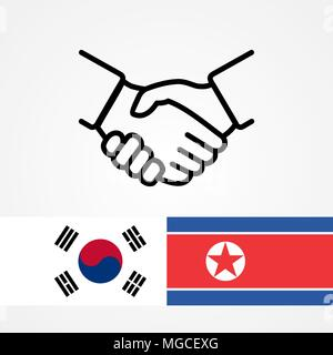 North and South Korea handshake flags flat. - Stock Photo