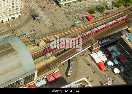 Aerial view of the S-Bahn tracks rapid train and tram train at the Alexanderplatz public square in Berlin. - Stock Photo