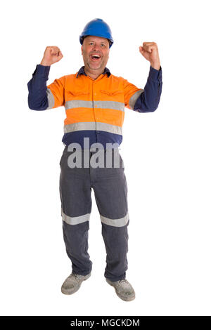 A worker in a pose of celebration, full length on white. - Stock Photo