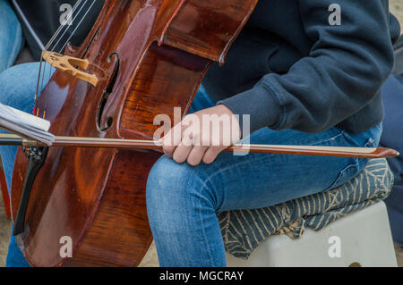 Close Up Of A Top Part Of The Cello At The Vondelpark On Kingsday Amsterdam The Netherlands 2018.jpg - Stock Photo