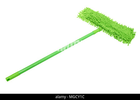 Green Microfiber mop with a plastic handle isolated on white background. - Stock Photo