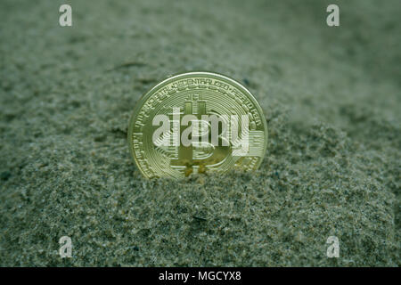 Golden bitcoin coin in the sand - Stock Photo