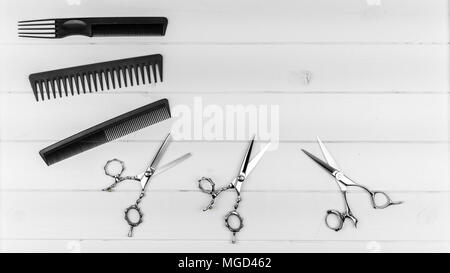 Professional haircut combs and scissors slider image with copy text area for hairstyle and barber saloon. - Stock Photo