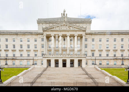 Belfast/N. Ireland - May 31, 2015: In East Belfast stand the Parliament Buildings at the end of Prince of Wales Ave. Also known as Stormont. - Stock Photo