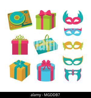 Set of birthday elements - Stock Photo
