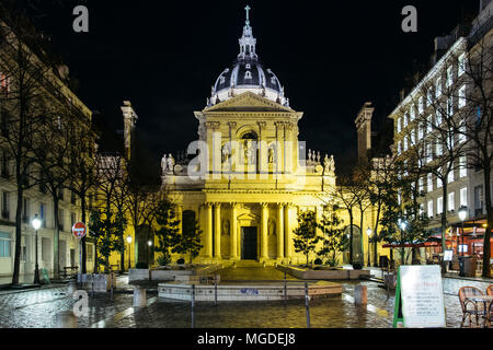 Paris, France. February 11, 2018. The chapel of the Sorbonne University at night. - Stock Photo