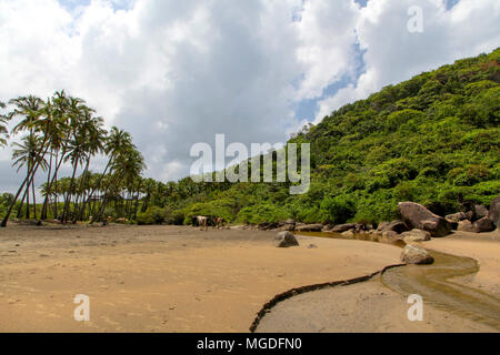 A view of the famous beach of Agonda beach in India. - Stock Photo