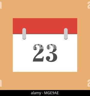 calendar icon flat 23. Simple calendar icon with 23 date eps 10 - Stock Photo