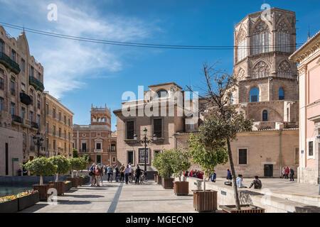 Plaza Decimo Junio Bruto, part of the old historical city centre in North Ciutat Vella district, Valencia, Spain. - Stock Photo