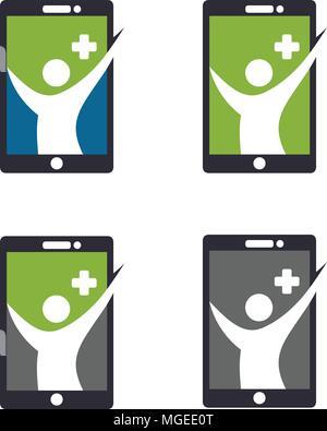 app health icon, health human figure on smartphone logo vector, online health app icon - Stock Photo