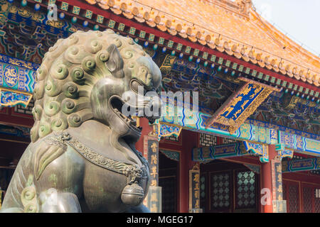 Bronze Lion Statue in Summer Palace, Beijing - Stock Photo