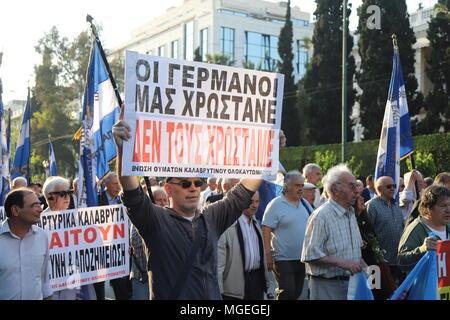 Athens, Greece  27th Apr, 2018  Demonstrators holding Greek