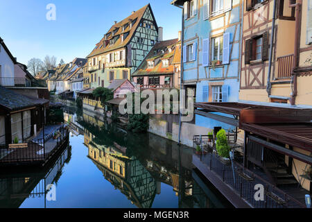 Colorful houses and cafes in Petite Venise / Little Venice, Fishmongers District, Colmar town, Alsatian wine area, Alsace, France, Europe - Stock Photo