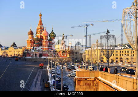 MOSCOW, RUSSIA - FEBRUARY 13: View of the cathedral of Red Square, Moscow on February 13, 2018. - Stock Photo