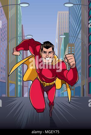 Superhero Running in City - Stock Photo