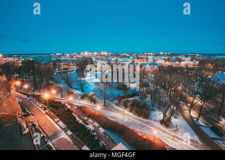 Tallinn, Estonia. Old Stone Staircase And Cityscape At Winter Evening Night. View From Patkuli Viewpoint. - Stock Photo