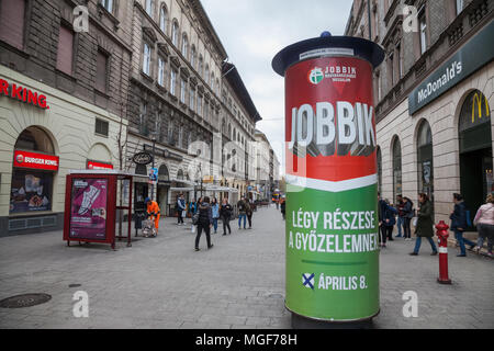 BUDAPEST, HUNGARY - APRIL 7, 2018: Jobbik electoral poster in the streets of Budapest for the parliamentary elections of 2018. Jobbik is the main extr - Stock Photo