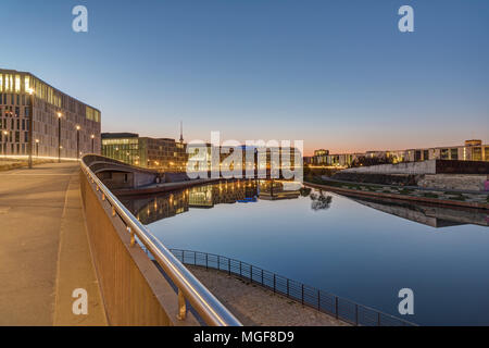 Sunrise at the river Spree in Berlin with the Television tower in the back - Stock Photo