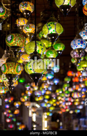 Multi-colored lamps hanging at the Grand Bazaar in Istanbul, Turkey - Stock Photo