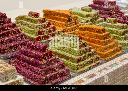 Turkish traditional sweets, rahat lukum in counter in the Grand Bazar market, Istanbul - Stock Photo