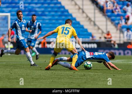 SPAIN - 28th of April: Espanyol midfielder Oscar Melendo (14) during the match between RCD Espanyol v Las Palmas for the round 35 of the Liga Santander, played at Cornella-El Prat Stadium on 28th April 2018 in Barcelona, Spain. (Credit: Mikel Trigueros / Urbanandsport / Cordon Press)  Cordon Press - Stock Photo