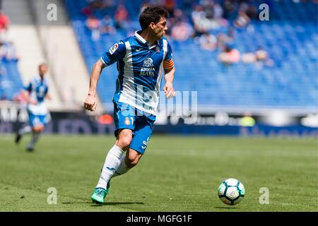 SPAIN - 28th of April: Espanyol defender Javi Lopez (16) during the match between RCD Espanyol v Las Palmas for the round 35 of the Liga Santander, played at Cornella-El Prat Stadium on 28th April 2018 in Barcelona, Spain. (Credit: Mikel Trigueros / Urbanandsport / Cordon Press)  Cordon Press - Stock Photo