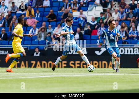 SPAIN - 28th of April: Espanyol forward Gerard Moreno (7) during the match between RCD Espanyol v Las Palmas for the round 35 of the Liga Santander, played at Cornella-El Prat Stadium on 28th April 2018 in Barcelona, Spain. (Credit: Mikel Trigueros / Urbanandsport / Cordon Press)  Cordon Press - Stock Photo