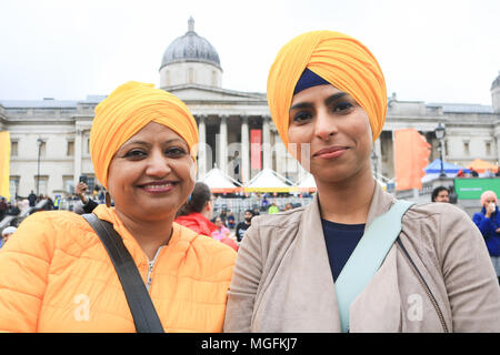 London UK. 28th April 2018. Punjabi women wearing turbans  attend the Vaisakhi festival in Trafalgar Square which is hosted by the Mayor of London as  a celebration of Sikh and Punjabi tradition, heritage and culture Credit: amer ghazzal/Alamy Live News - Stock Photo